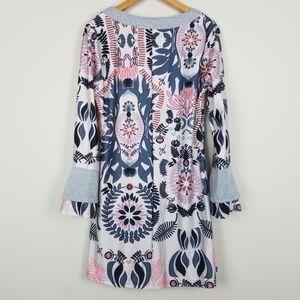 Reborn Dresses - Reborn Bell Sleeve Floral Tunic Dress A1301